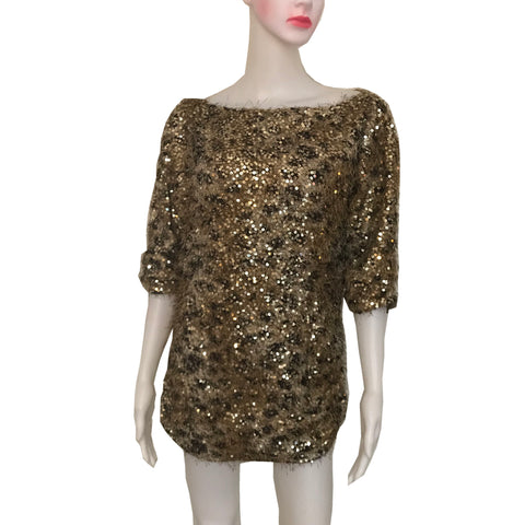 Vintage 1980s Gold Fuzzy Sequined Sweater
