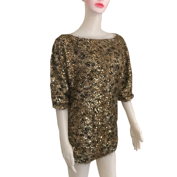 Vintage 1980s Gold Sequined Short Sleeve Sweater