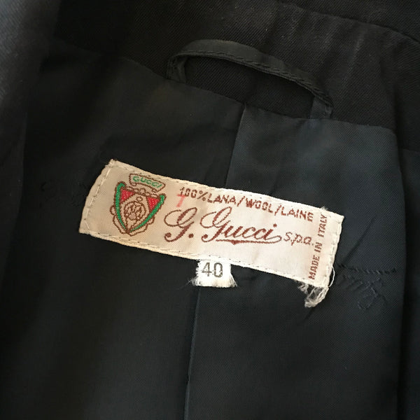 Vintage 1980s Gucci Leather Trimmed Wool Jacket