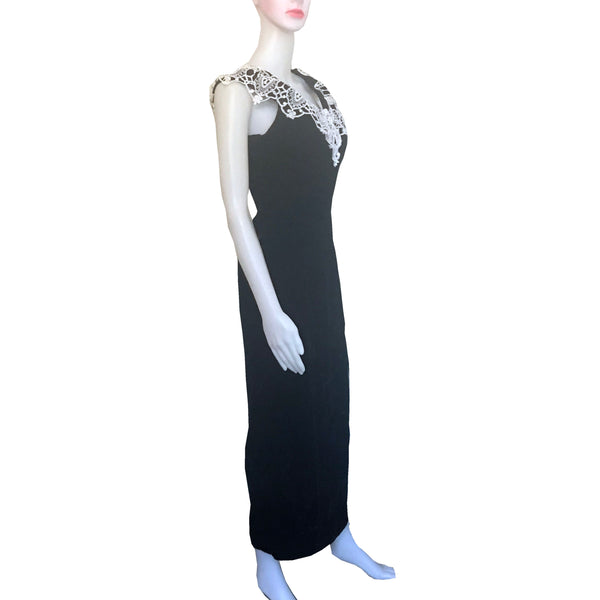 Vintage 1980s Gunne Sax Black Velvet Formal Dress