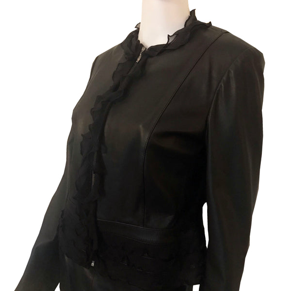 Vintage 1980s Lillie Rubin Black Leather Skirt Suit