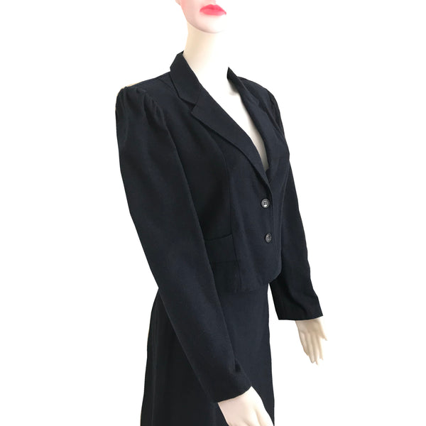 Vintage 1970s Navy Blue Wool Skirt Suit