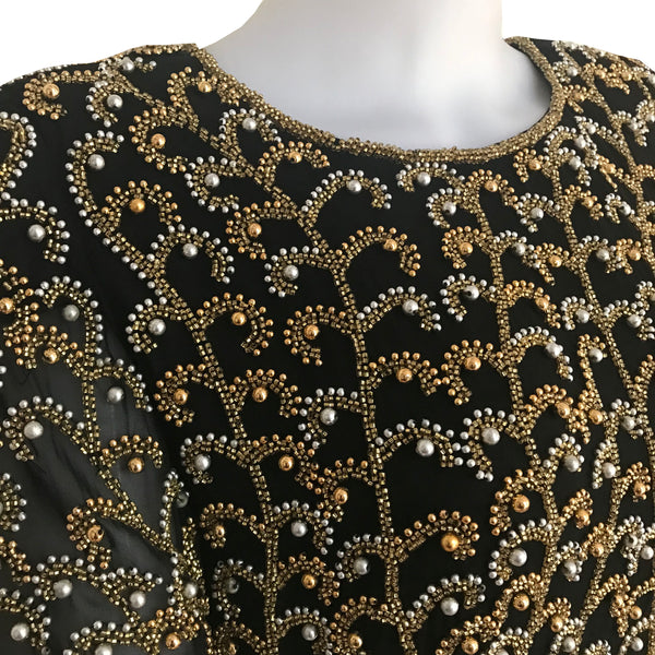 Vintage 1980s Oleg Cassini Beaded Cocktail Dress