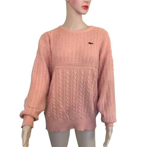Vintage 1980s Pink Izod Cable Knit Sweater