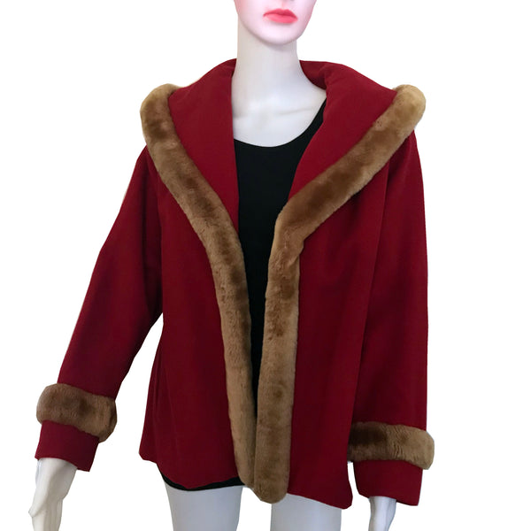 Vintage 1940s House of Erdrich Red Wool Coat