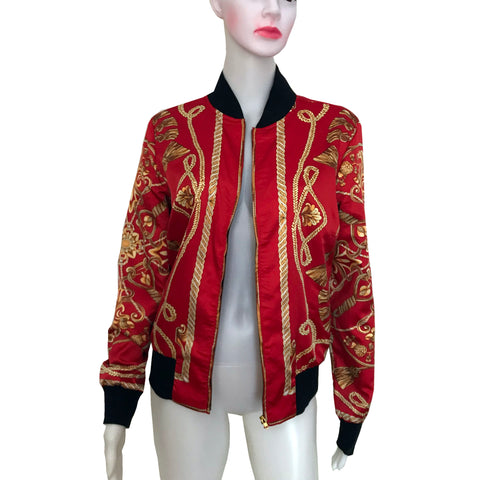 Vintage 1990s Red Satin Bomber Jacket