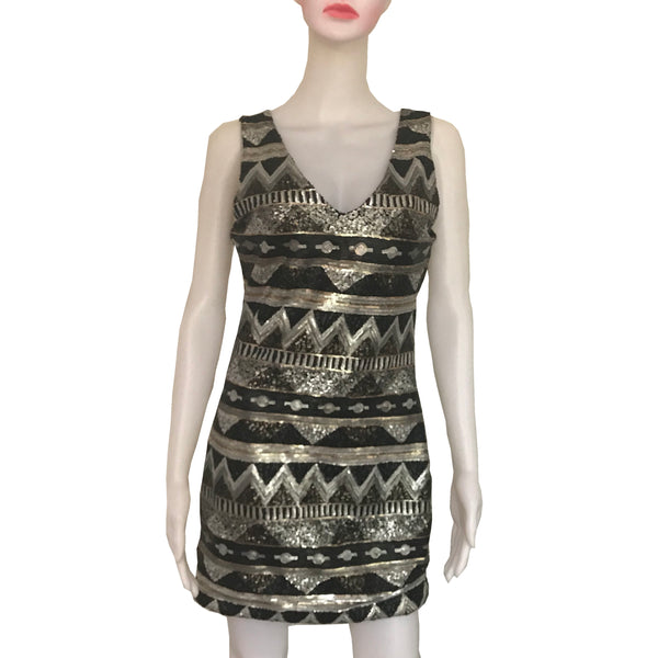 Vintage 1990s Sequined Abstract Print Mini-Dress