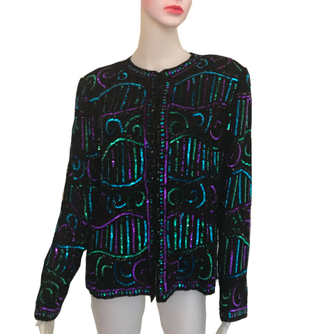 Vintage 1980s Brilliante Sequined Silk Formal Jacket