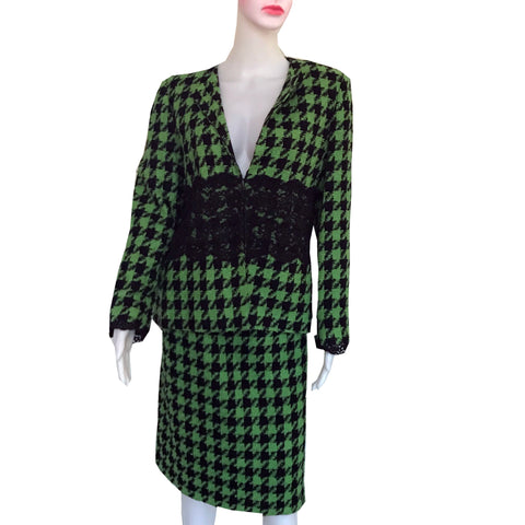Vintage 1990s Victor Costa Houndstooth Suit