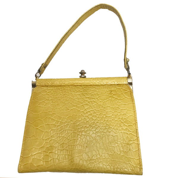 Vintage 1950s Yellow Top-Handle Crocodile Bag