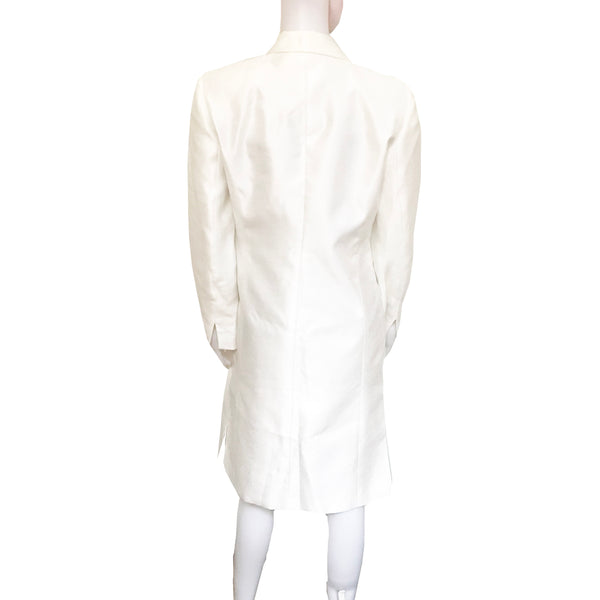 Vintage 1980s White Formal Embroidered Spring Coat