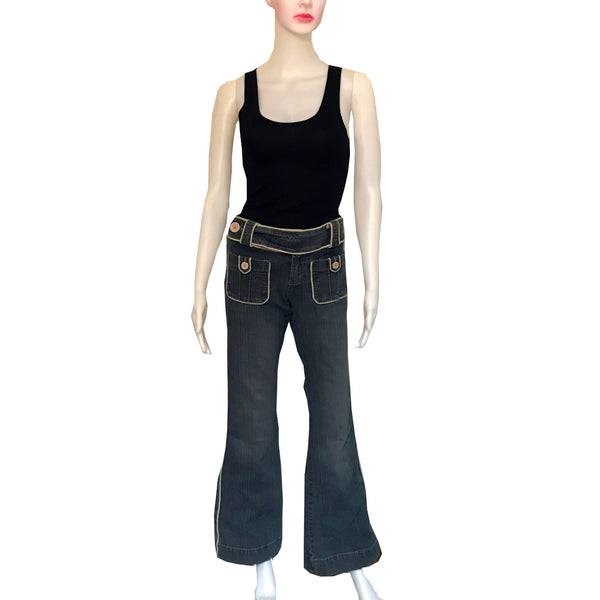 Vintage 1990s Z. Cavaricci Piping Trimmed Flare Jeans