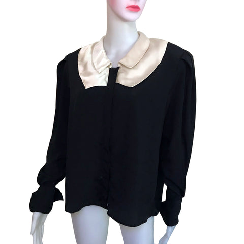 Vintage 1980s Tess Black & White Blouse