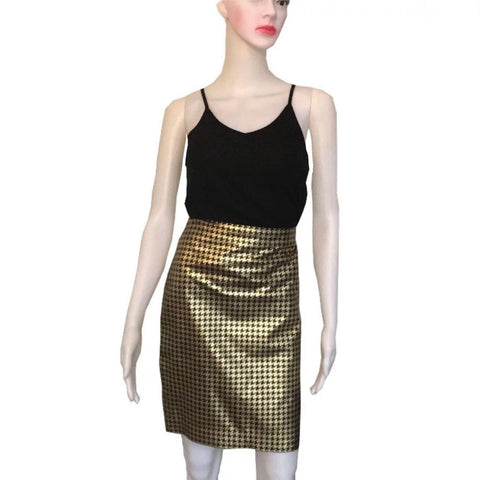 Vintage 1990s Ralph Lauren Leather Houndstooth Skirt