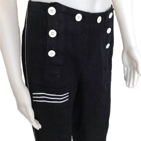 Vintage 1990s DKNY Navy Blue Linen Sailor Pants