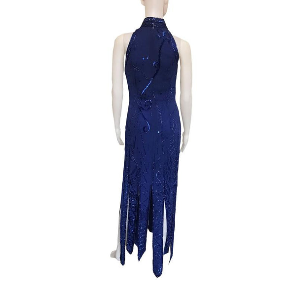 Vintage 1980s Lillie Rubin Blue Sequin Halter Dress