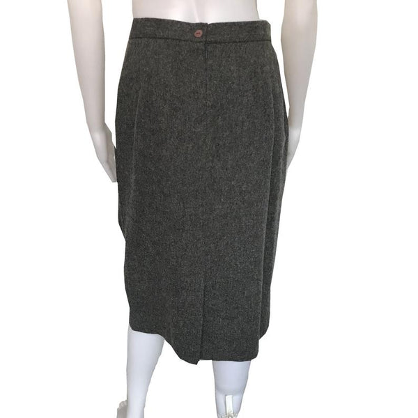 Vintage 1980s Oleg Cassini Gray Wool Skirt Suit