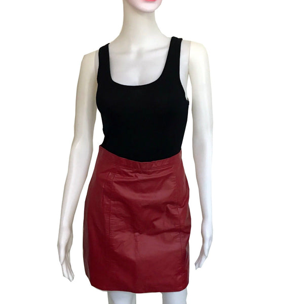 1980s RED LEATHER SKIRT