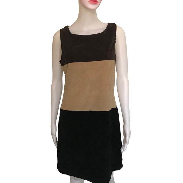 Vintage 1970s Pellini Ultra-Suede Colorblock Dress