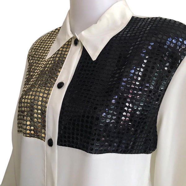 Vintage 1980s Black & Gold Sequined Blouse
