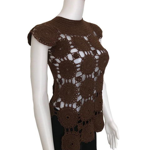 Vintage 1960s Brown Crochet Cap Sleeve Sweater