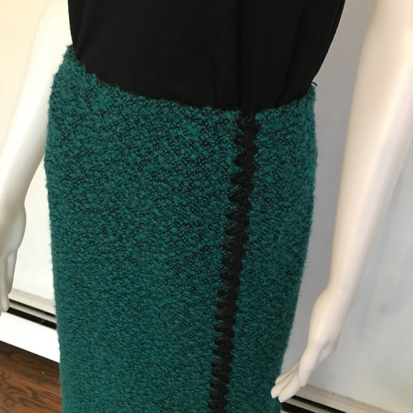 Vintage 1970s Green & Black Boucle Style Midi Skirt