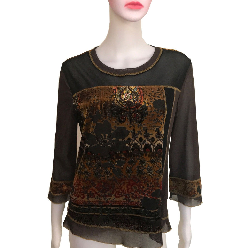 Vintage 1990s Brown Velvet Burnout Blouse