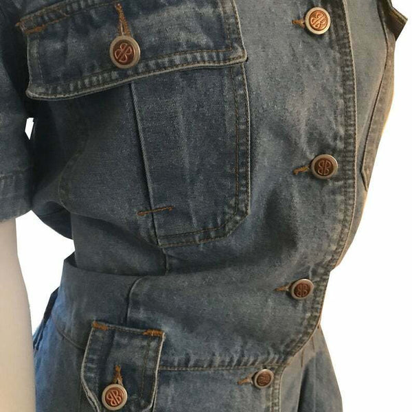 Vintage 1980s Bill Blass Light Denim Shorts Playsuit