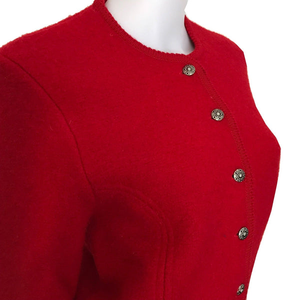Vintage 1980s Red Wool Jacket With Scalloped Trim