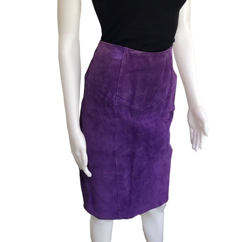 Vintage 1980s Purple Suede Skirt