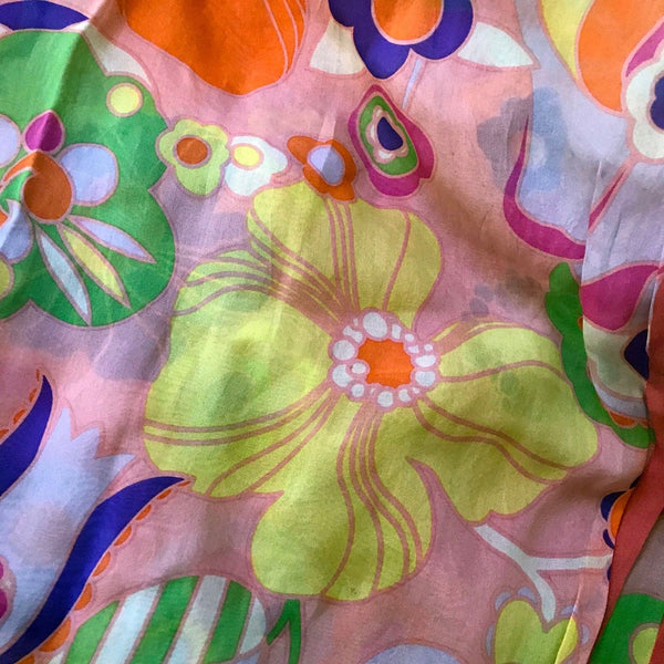 Vintage 1990s Moschino Floral Silk Scarf