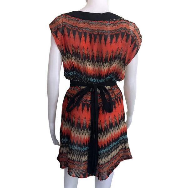 Vintage 1970s Aztec Print Pleated Tunic Dress
