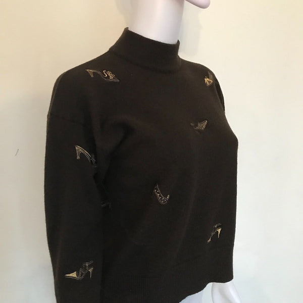 Vintage 1960s Wool Sweater With Embroidered Shoes