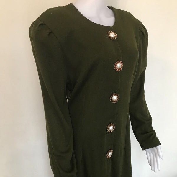 Vintage 1980s Olive Green Lerner Dress