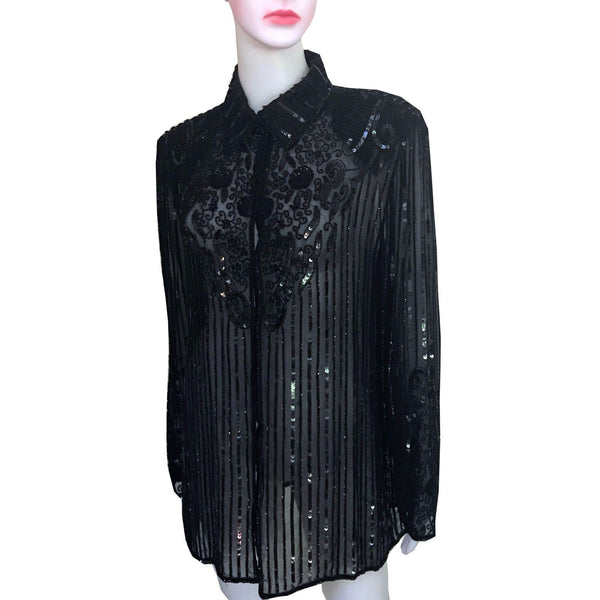 Vintage 1980s J Kara Beaded Silk Long Sleeve Blouse