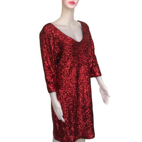 Vintage 1980s Full Sequined Red Cocktail Dress