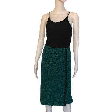 Vintage 1980s Green & Black Boucle Style Midi Skirt