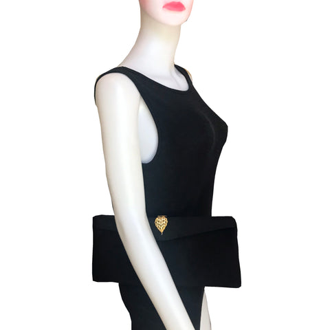 Vintage 1950s Britemode Black Satin Clutch Bag