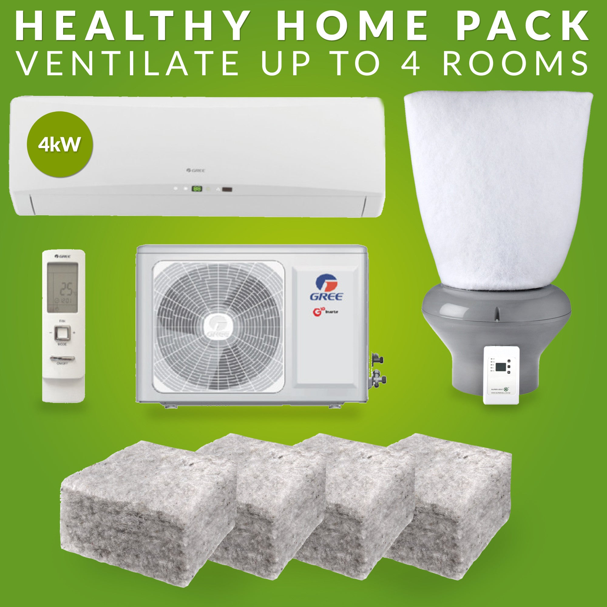 Healthy Home Pack: 4kW Gree heat pump, supercell ventilation system, ventilation fitlers