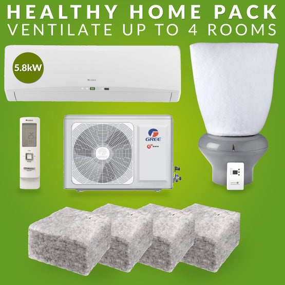 Healthy Home Pack: 5.8kw Gree heat pump, supercell ventilation system, ventilation filter, realwool insulation