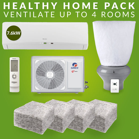 Healthy Home Pack: Gree 7.6kw heat pump, realwool insulation, supercell ventilation system, ventilation filters