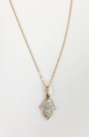 14k Gold/Rose Gold/White Gold Diamond Hamsa Necklace