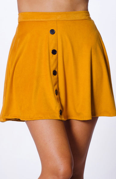 Afia Faux Suede Button Skirt