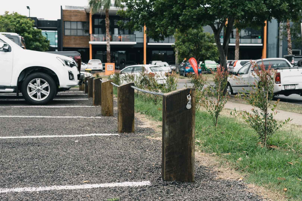 Cannon Hill Southgate Car Park - Hardwood Bollards