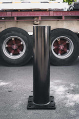 140 OD/MM Black Square Plated Surface Mounted Bolt Down Bollard - Brisbane bollards