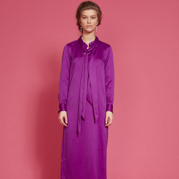 New in: Pussy bow dress (purple)