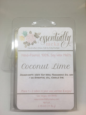 Coconut Lime Wax Melt, Wax Melt, Essentially Meka Bath & Body Boutique