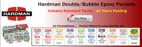 Hardman Double Bubble Epoxy Product Line, Industry-Standard Single-Use Epoxy Packets, One-shot, Single-Use, Job-Size Epoxy Packets