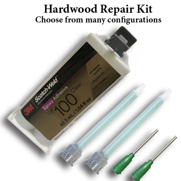 Atlas Professional Hardwood Repair Kit with 3M Scotch-Weld DP100 3-5 Min Fast Set Metal Epoxy Adhesive