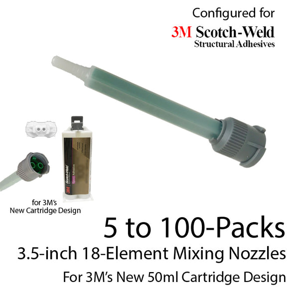 EPX Mixing Nozzle Multi-Packs-fits 3M 50ml Duo-Pak Adhesive Cartridges (Shorter 18-element, 3.5in, 1:1 & 2:1 ratios)